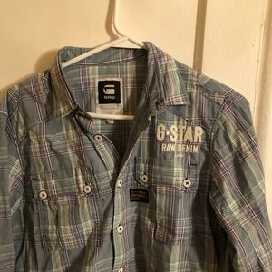 G STAR RAW Mens Purple Button UP Long Sleeves Med
